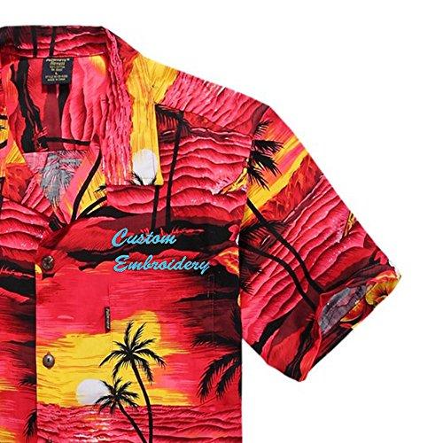 5417ddea Palm Wave Men's Hawaiian Custom Emboridery Shirt Aloha Shirt Luau Shirt XL Red  Sunset