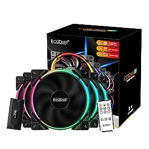 Pccooler 120mm Fan Moonlight Series 5 in 1 Kit Upgrade,PC-5M120 ARGB LED Computer Case Fan - PWM Cooling Fan - Dual Light Loop Quiet Fan/Multiple Light Modes with Wireless Controller for PC Case