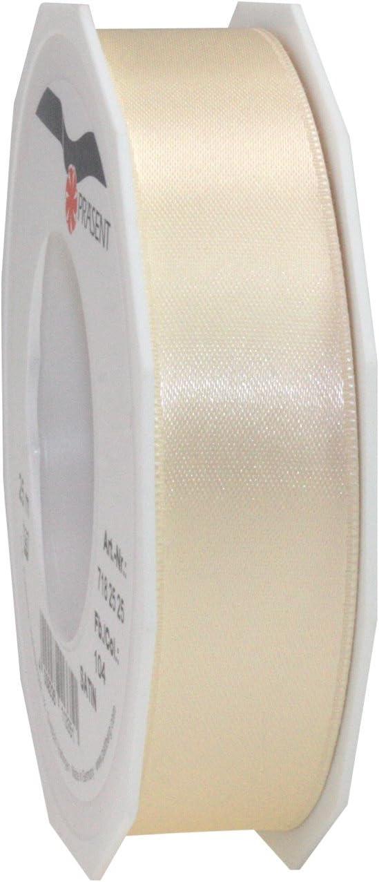 pattberg 10 mm 25 m de Cinta de Raso de Doble Cara Crema Prasent C.E