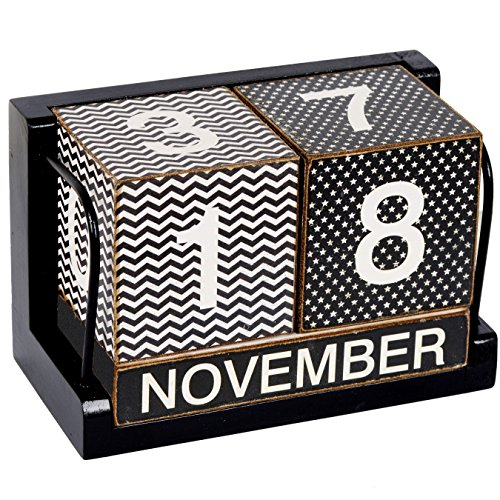 - NIKKY HOME Shabby Chic Wave and Spot Perpetual Desk Calendar Wood Blocks 6.9 x 3.5 x 4.5 Inches, Black