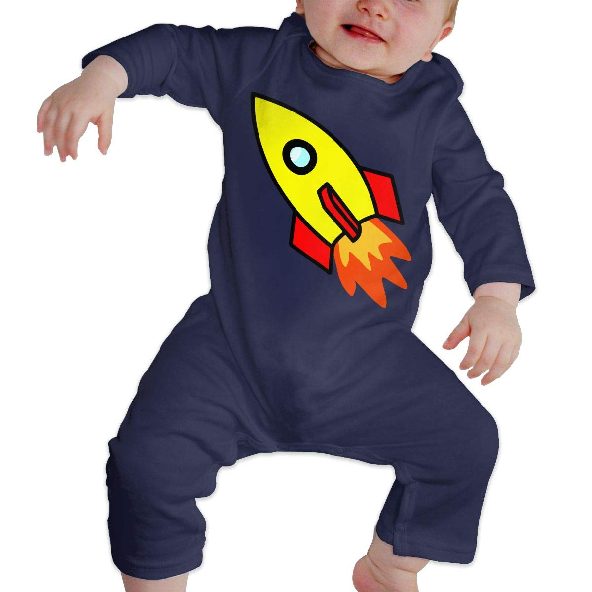 UGFGF-S3 Red Yellow Rocket Spaceship Newborn Baby Long Sleeve Romper Jumpsuit Jumpsuit