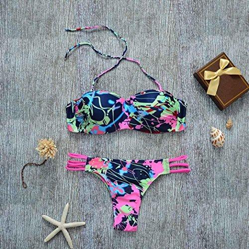 LANDFOX Push-up traje de baño acolchado de sostén baño mujeres atractivas conjunto de bikini floral