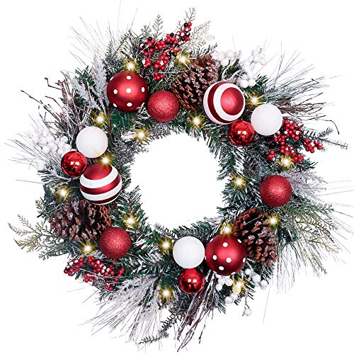 Teresas Collections Pre-Lit 24 Inch Traditional Red and White Christmas Wreath with Ball Ornaments,Berries and Pine Cones, Battery Operated 20 LED Lights
