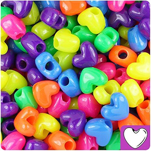 BEADTIN Mixed Neon Bright 12mm Heart Pony Beads (250pc)