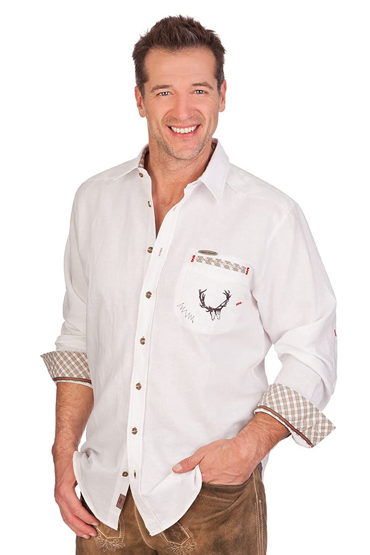 H1403 - Trachtenhemd langer Arm - SILVIO - weiß