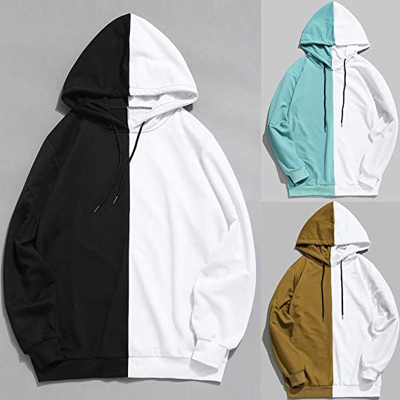 Amazon.com : DaySeventh Mens Casual Patchwork Slim Fit Hoodie Outwear Blouse Sweatshirt : Sports & Outdoors