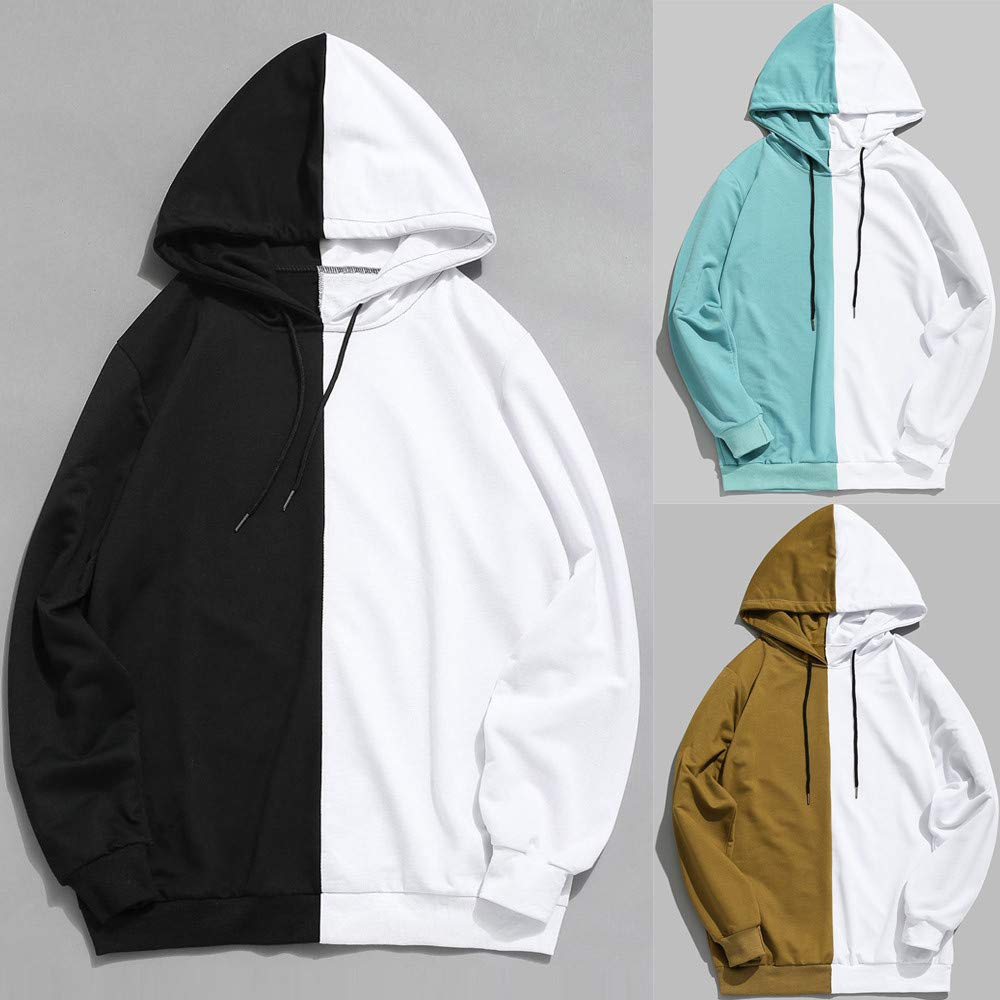 Star_wuvi Mens Color Block Hoodie Drawstring Sweatshirt Spring Casual Hooded Pullover Tops Plus Size Outwear, S~2XL at Amazon Mens Clothing store: