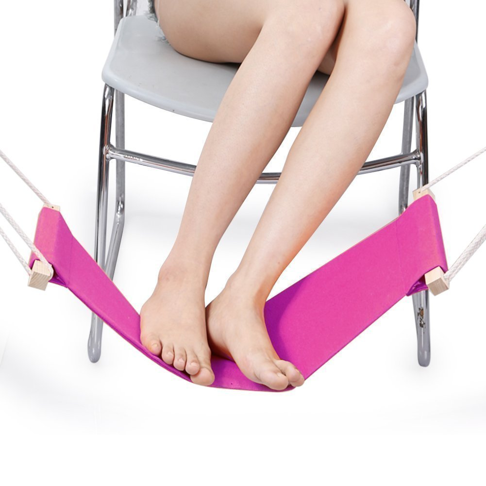 DMcore Canvas Foot Rest Hammock, Adjustable Mini Foot Rest Stand Under Desk for Home and Office (Pink)