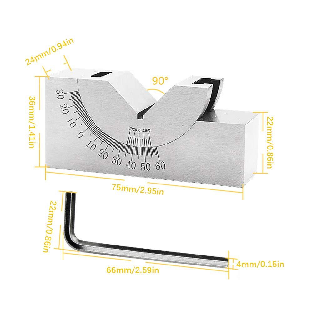 Kampre 0 a 60 Grados de Acero Ajustable /Ángulo V Medidor de Bloque Micro /ángulos de /ángulo con Llave para taladradora