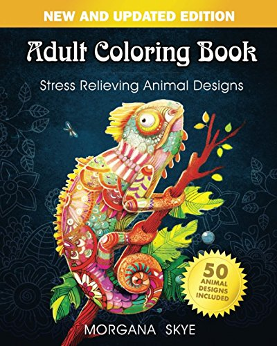 Adult Coloring Book: Stress Relieving Animal Designs - Man Sticker Book