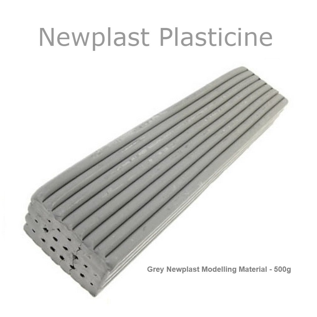 Grey Newplast Plasticine Modelling Clay Animators Choice Moulding Material Non Toxic Non Hardening Bar 5 Blocks - 2.5KG