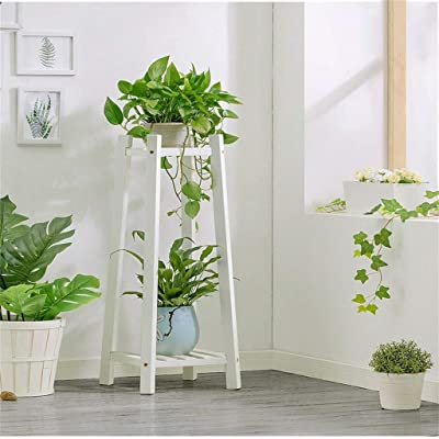 Looking back is the shore 2-Layer Solid Wood Flower Stand/Living Room Bedroom Balcony Multi-Function Indoor Corner Flower Stand (Color : White): Garden & Outdoor