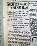 WRIGHT BROTHERS Orville Flyer Airplane & SMITHSONIAN Negotiations 1928 Newspaper THE NEW YORK TIMES, March 4, 1928