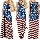 Women Sundress,Sexy Flag Striped Print Maxi Dress July 4th Tank Long Dress Axchongery (L, Blue)