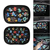 Houkiper Cute Baby Car Sun Shade for Side and Rear Window - Cartoon Lovely Window Sunshade Hot Harmful UV Rays Sunlight Protector for Baby Kids Toddler Universal Foldable 2pcs (character)