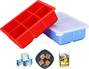 G-Good Large Ice Tray with Lid - Set of 2, Silicone Flexible 6 Cavity Ice Molds for Whiskey, Cocktails and Baby Food - 2 Inch Square Cubes Stackable Easy Release, Reusable & BPA Free