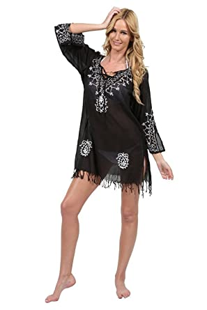 Ingear Embroidered Beach Cover Up White/Fuchsia-Small