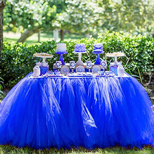 Handmade Tulle Table Skirt for Wedding Head Bridal Baby Shower Decoration Princess Party Candy Table Royal Blue Table Skirt for $<!--$21.99-->