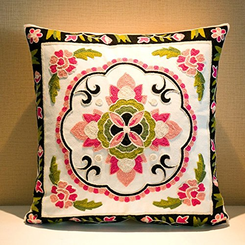 MeMoreCool Bohemia Exotic Style Pillow Sham Exquisite Stereoscopic Embroidered Cotton Throw Pillow Cover Indian Decor Sofa Cushion Cover Pillow Case (Euro Map)