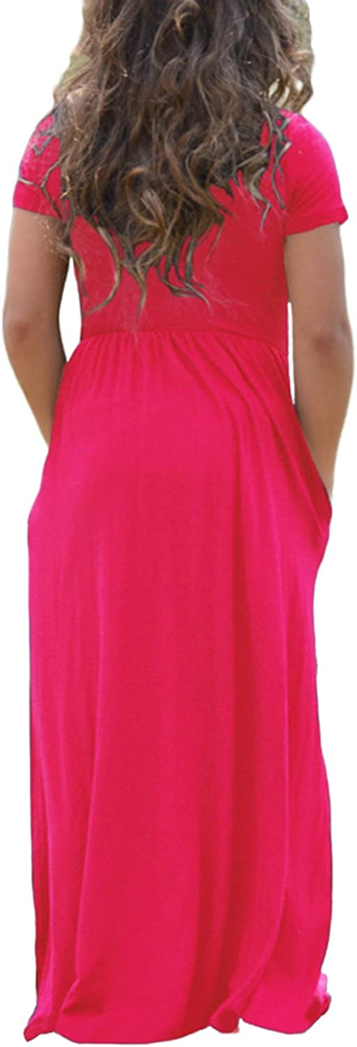 AlvaQ Girls Cap Sleeve Cinched Long Maxi Dress Casual Size 4-14 Years Old