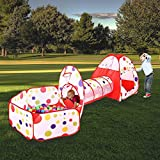 MAIKEHIGH soft play Indoor/Outdoor Play Tunnel and Play Tent Cubby-Tube-Teepee 3 In 1 Playground Gifts for Children Baby Girls Boys Kids Toys BALLS NOT INCLUDED