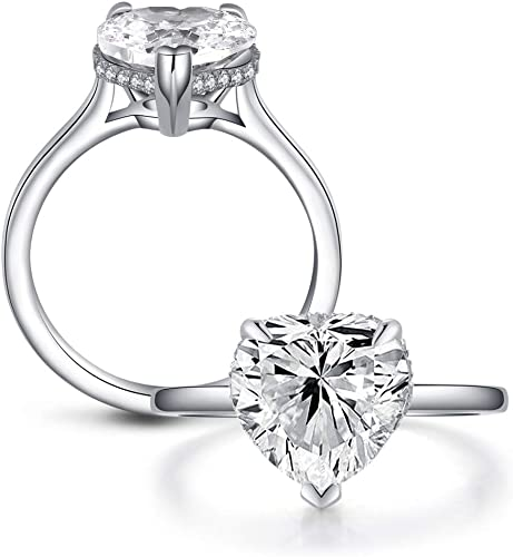 Ring Sizes 5 to 8 AINUOSHI 5 Carat Cushion Cut Cubic Zirconia CZ Vintage Promise Wedding Engagement Rings for Women Sterling Silver