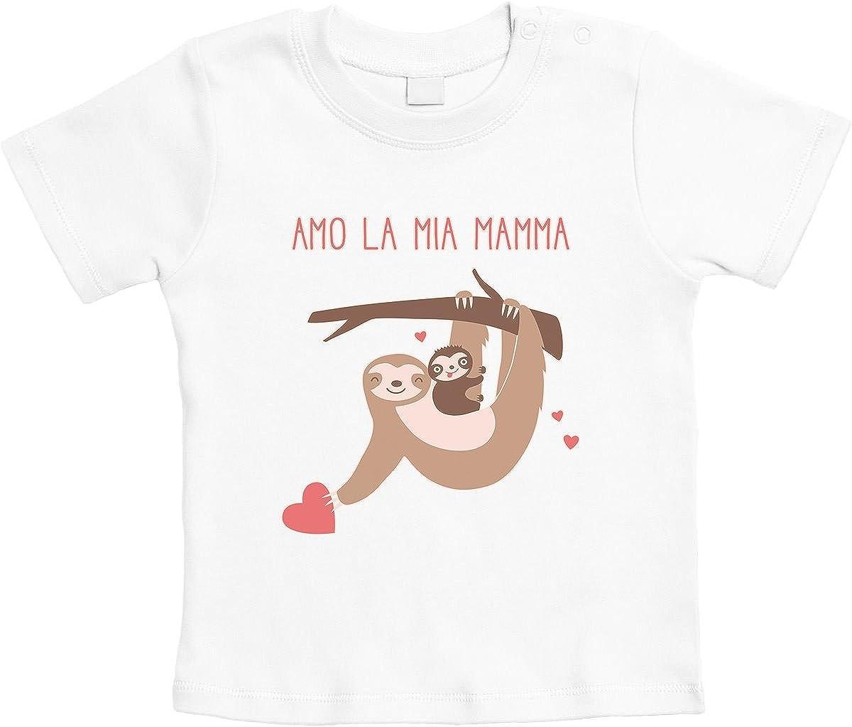 Shirtgeil Amo la mia Mamma Dolce Idea Regalo per Madre Maglietta Neonato Unisex