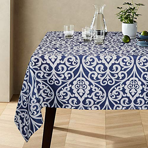 (Lahome Damask Floral Pattern Tablecloth - Stain Resistant Polyester Table Cover for Kitchen Dining Room Restaurant Party Decoration (Blue, Rectangle - 60