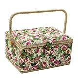 D&D Large Sewing Basket Organizer with Hand Sewing Supplies and Notions, Flower