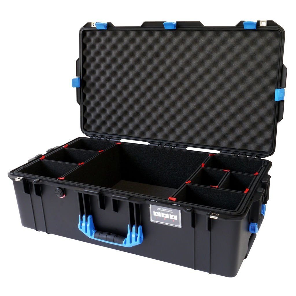 Black w/ Blue handles & latches Pelican 1615 case. With TrekPak Dividers. With Wheels.