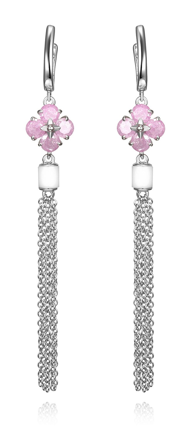 Lanfeny Rhodium Plated 925 Sterling Silver Tassel Dangle Earrings with Pink Crystal Floral Style