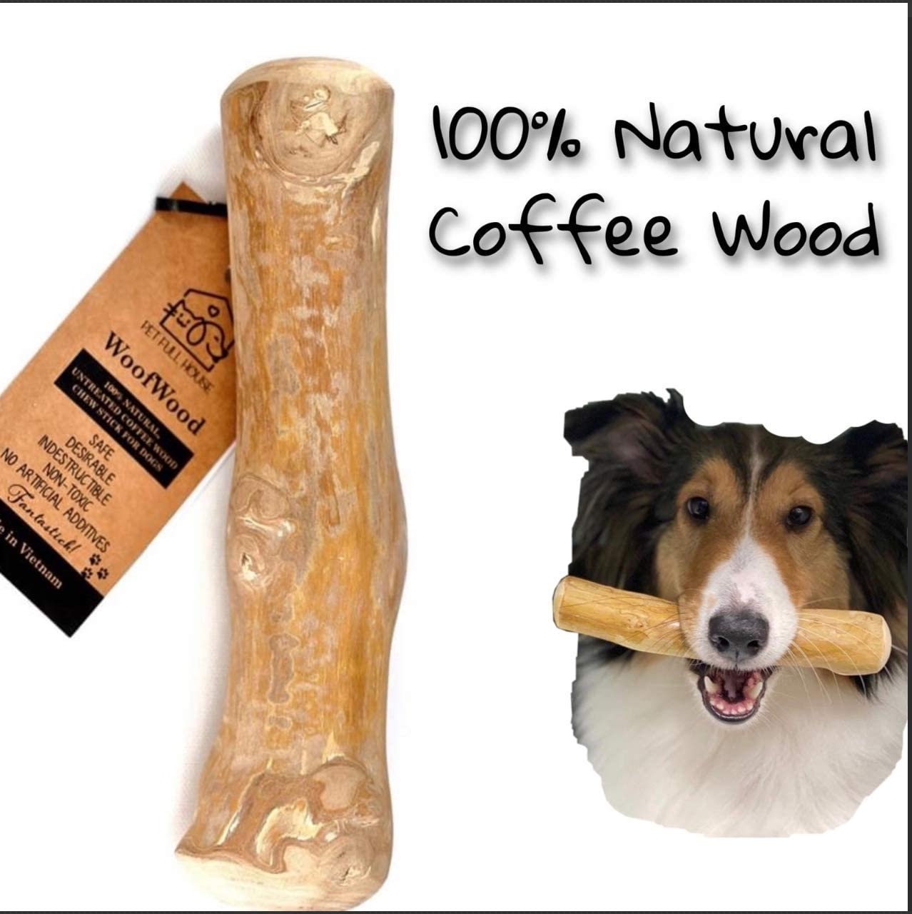 Pet Full House WoofWood Dog chew Sticks, Safe, Natural & Healthy chew Toys, Real Coffee Wood, Long Lasting, Durable chewable Stick and Toy, Aggressive chewers for Dogs
