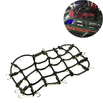 1/10 Echelle voiture élastique Porte-bagages net filet avec Crochet pour 1/10 Crawler Axial RC4WD SCX10 RC Porte-bagages (Noir)