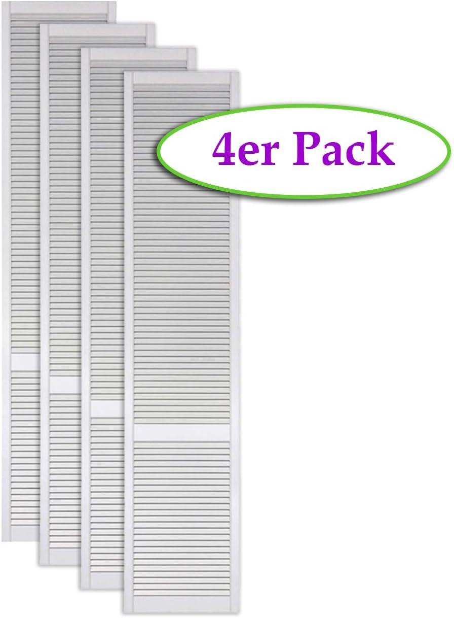 M/öbel Schr/änke 4-er Pack//Vier St/ück Lamellent/üren wei/ß seidenmatt mit offenen Lamellen Kiefernholz 690 x 494 x 21 mm f/ür Regale EINBAUFERTIG grundiert /& lackiert