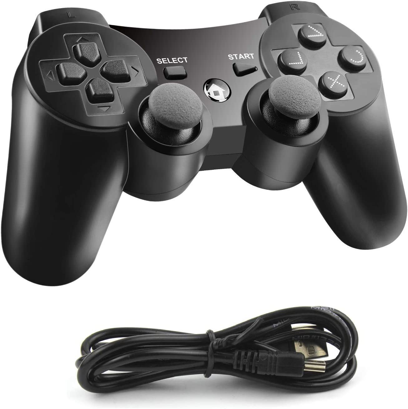JAMSWALL PS3 Controller, Wireless Bluetooth Joystick, Dualshock3 Gamepad for Playstation 3 with Charger Cable Cord, Black