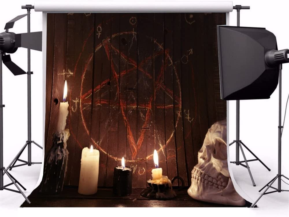 Laeacco Halloween Theme Backdrop 10x10ft Vinyl Photography Background Trick Or Treat Party Creepy White Skull Burning Candles Mystic Pentagon Chalk Drawing Shabby Witchs House Interior Witchcraft