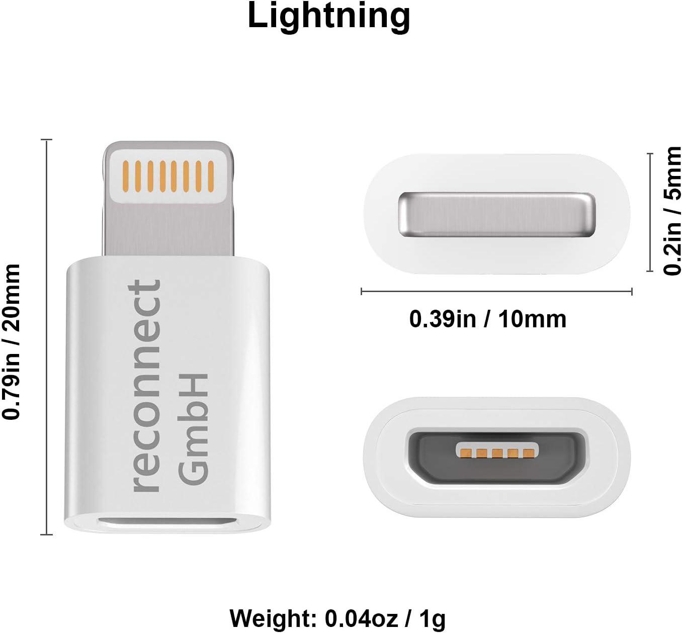 Reconnect 6S 6 5S 5C 8 X y muchos m/ás 7 Plus SE Adaptador micro USB a Lightning para cargar y sincronizar tu iPhone 5
