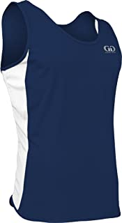 product image for PT980 Men's Performance Athletic Single Ply Dash Track Singlet with Side Panels (X-Small, Navy/White/Navy)