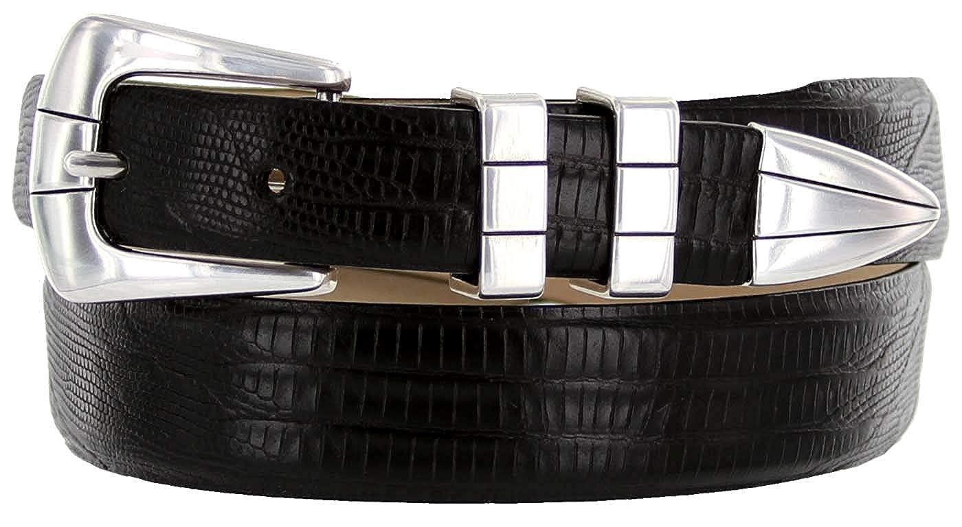 BBBelts Men 1-1//8 Wide Italian Calfskin Embossed Or Smooth Silvered Buckle Belt