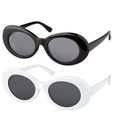 62bd9d139d Elimoons Clout Goggles Retro Oval Mod Thick Frame UV400 Sunglasses Lens 2  Pack