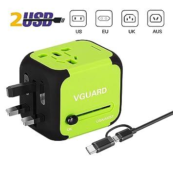VGUARD Adaptador Enchufe Ingles de Viaje Universal Cargador Internacional con MAX 2.4A para Americano Europeo UK USA 150 Países (Verde)