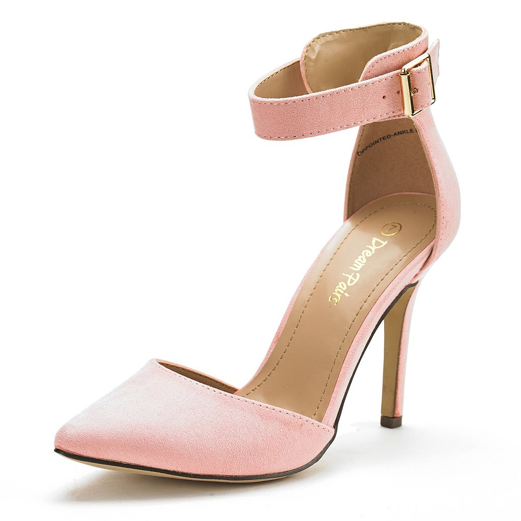 DREAM PAIRS Oppointed-Ankle Women's Pointed Toe Ankle Strap D'Orsay High Heel Stiletto Pumps Shoes Pink-SZ-8.5