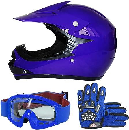 Leopard Leo X15 Blau Kinder Motorrad Helm S 49 50cm Handschuhe S 5cm Zorax Brille Kinder Motorradhelm Full Face Mx Helmet Mädchen Jungen Dirt Bike Auto