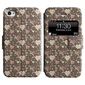 LEOCASE corazón rojo Funda Carcasa Cuero Tapa Case Para Apple iPhone 4 / 4S No.1003388