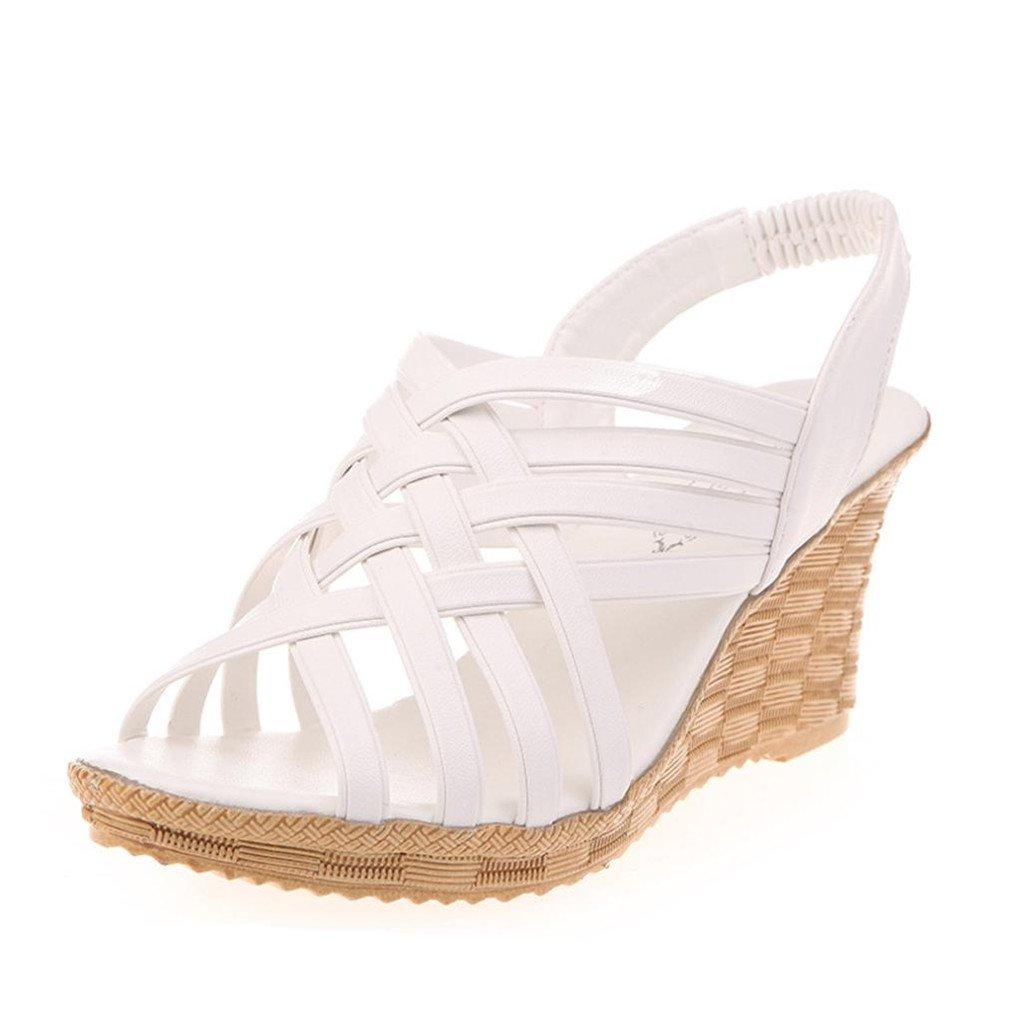 Sandales GongzhuMM Sandales Compensées Femme Sandales Talon Compensé Chaussures Tongs Sandales Talons Hauts Bout Ouvert Plateformes Découpées Motif Ceinture Gladiateur