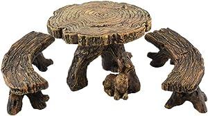 TG,LLC Treasure Gurus Picnic Table and 2 Benches Outdoor Fairy Garden Patio Furniture Dollhouse Supply