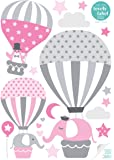 lovely label Wall Stickers for Kids - Hot Air Balloons PVC-Free Laminate Self-Adhesive Wall Decor - Nursery Art Decals w/33 Stickers, Pink & Grey