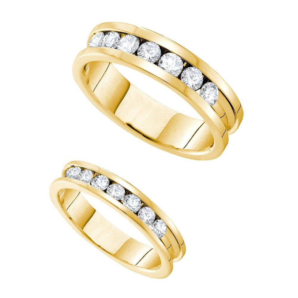 14k Yellow Gold Round Diamond Matching Comfort-fit Womens Mens His Hers Wedding Band Set (1.50 cttw.) (I1)