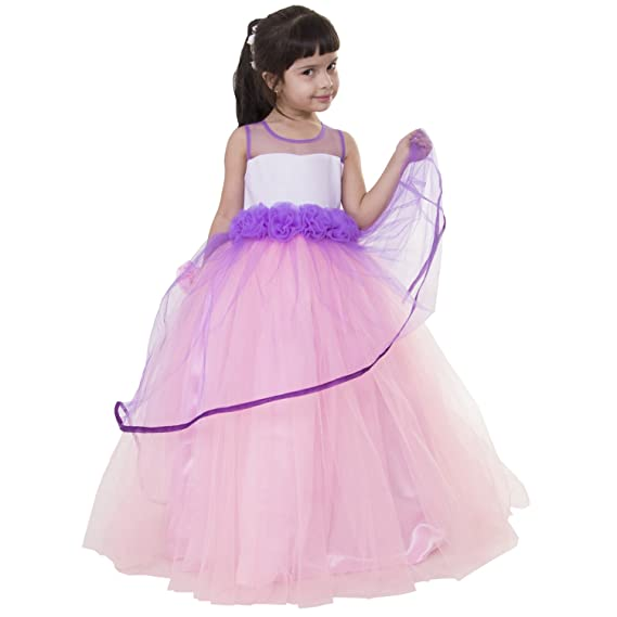 cdfdd24eae22 Samsara Couture Baby Girls Pink Lavender Satin and net Princess Ball ...