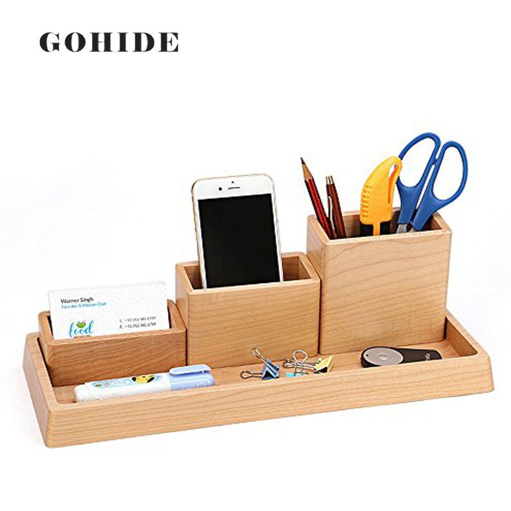 GOHIDE A Set Selling In DIY Creative Wood Pen Holder Hand Made Desk Organizer Pen Pot School Office Supplies Pen Stand Box XCX